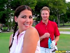 Nice Adriana get pounded by two dudes in a locker room
