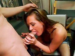 Stunning brunette milf Tory Lane enjoys in giving a hot blowjob session and playing with her