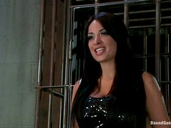 Slutty Girl Is Sent To A Woman's Prison. The Male Wardens Give Her A Hard Punishment!