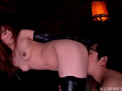 Gorgeous Japanese hottie in leather boots is being dicked