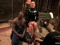 Dominant Flower Tucci Rides a Black Man's Cock after Torturing Him