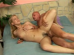 Tight hairt pussy of blonde teeny is screwed hard by old granpa