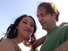 Mature dude picks up Vicki Chase and strips her in front of camera