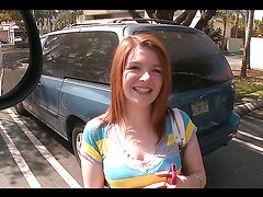 Beautiful redhead teen's fucked silly in the bang bus