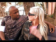 Rough outdoors interracial sex with a smoking hot blonde