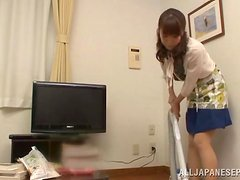 Skinny Japanese girl in stockings gets her trimmed pussy fucked