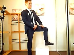 Hot Uncut Suited Guy Jerks Off