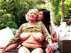 Very fat granny is licking pussy of that brunette