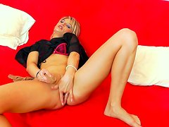 Blonde wearing sexy lingerie and a pantyhose goes solo