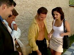 Slutty brunette girl gets pounded by four dudes by the pool