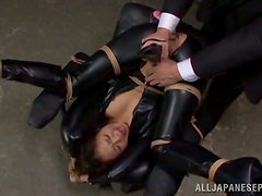 Delightful sex slave gets nailed in her latex suit
