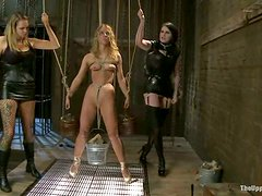 Cute blonde gets tormented and humiliated by two nasty milfs