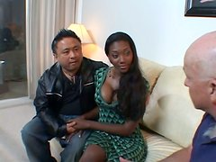 Petite ebony chick bends over for a white guy