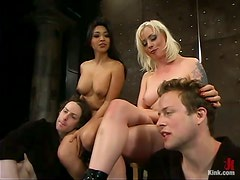 Cock Torture and Pegging with Face Sitting Action in Femdom Foursome