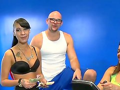 Pretty sporty fellow spends time with two naughty chicks in this action. He seduces them to