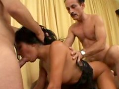 Incredibly sexy Latina babe Sativa Rose gets fucked in MMF threesome
