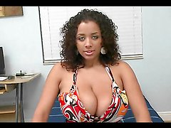 Ebony with huge tits gets nailed