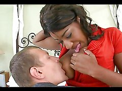 Ebony skank gives head & gets banged