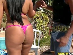 Big-assed Brazilian Sheila Morena sucks and rides a cock on the poolside