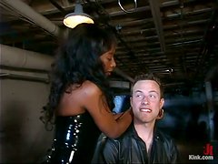 Gagged and bounded guy gets whipped and toyed by Black chick
