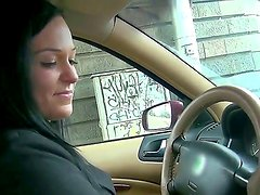 Obscene slag Natali Blue takes a ride in a taxi