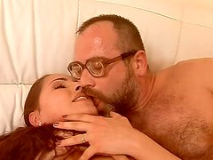 Hardcore anal sex scene featuring brunette babe and mature old daddy
