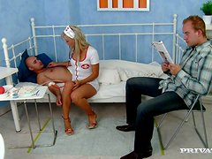 Banging the Gorgeous and Slutty Nurse Tea Blondie in MMF DP Threesome