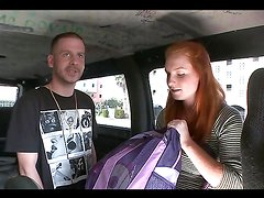 Busty redhead teen rides a big cock in the bang bus