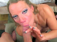 Horny milf gives nasty blowjob