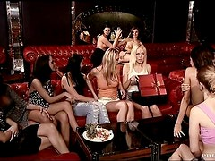 A lot of kinky and lusty lesbians are in an orgy