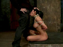 Deepthroat by a smoking hot brunette sex slave