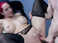 Red haired busty whore Kelly Divine sucks shlong of porn actor Jessy Jones