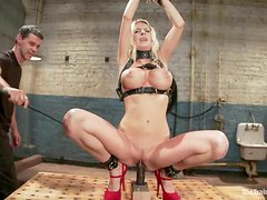 Nice blonde with big boobs gets whipped and toyed