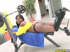 Oiled up Gogo Fukme gets oiled up and fucked in a gym