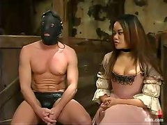 Naughty Anne Cruz humiliates and toys some guy in mask