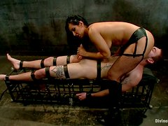 Femdom and Pegging Fun in Extreme Bondage Video with Isis Love