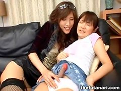 Asian dickgirl foreplay with cute stroking