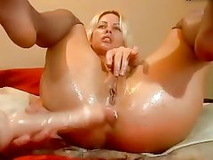 Anal toys used double dip into pussy