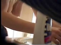 Have a look to my cute sister in bathroom. Hidden cam