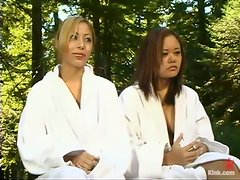 Outdoors BDSM Threesome with Latina and Blonde Submissive Babes