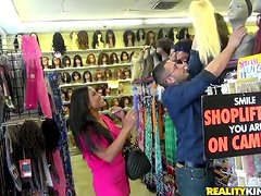 Lustful Maxine X rides big hard cock in a wig shop