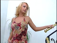 Two huge cocks for a slender blond angel Alisson