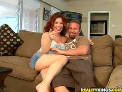 Redhead Jaky gets fucked deep in her pussy and then facialed