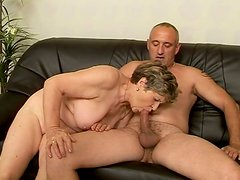 Obese ugly as sin fat old whore rides a stiff dick on the couch for orgasm