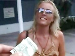 Blonde bitch gives up the cooch for money!