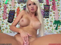 Rikki Six blows and gets facialed after pleasing herself with fingering