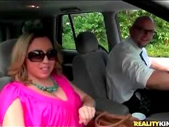 Big tits girl in hot pink dress is sexy