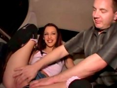 Sex-starved bimbo gets her pussy fingered on back seat of limo