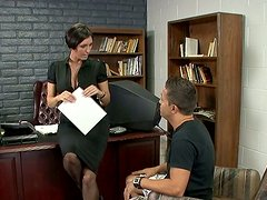Cougar Dylan Ryder sucks hard dick of Pike Nelson in the office