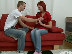 Skinny Redhead Babe Received It Deep